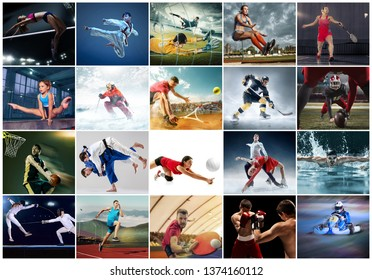 Sport collage about table tennis, badminton, gymnastics, boxing, volleyball, soccer and american football, taekwondo, figure skating, ski slalom, basketball, swimming, judo, jump, fencing concept. Fit