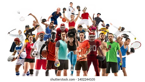 Sport collage made of different photos of 20 models. Tennis, running, badminton, soccer and american football, basketball, handball, volleyball, boxing, MMA fighter and rugby players.