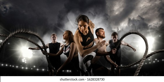 Sport collage. Men and woman running on smoke background. Sports banner. Horizontal copy space background