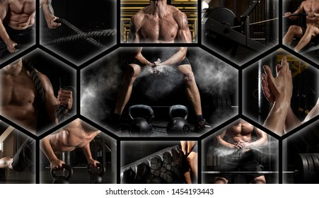 Sport collage. Muscular male athlete. Man exercising at the gym. Concept of fitness, motion, sport, bodybuilding.