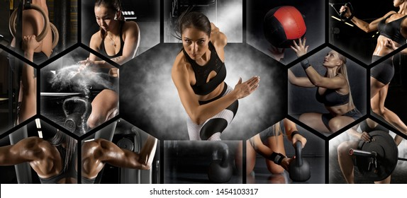 Sport collage. Muscular young female athlete. Woman exercising at the gym. Concept of fitness, motion, sport, bodybuilding, weight loss.