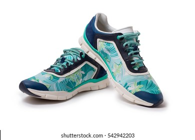 Sport colorful sneakers on white background