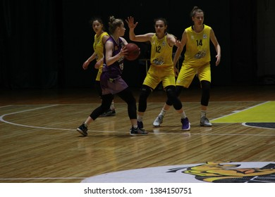 "SPORT COMPLEX ""MERIDIAN"", KIEV, UKKRAINE - April 27, 2019: The basketball match of high league (woman league) between Kiev-Basket (Kiev) and BC INTERHIM-2 (Odessa)."