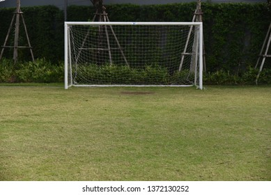 Sport concept : football field and goal with grass flooring detail