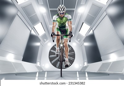 Sport. Cyclist has a traning in the wind tunnel