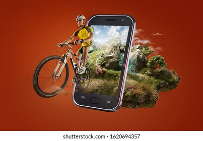 Sport. Cyclist riding a bike on an open green road on the sunset through the smartphone. 3d rendered babyroad with magic landscape.