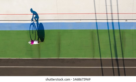 Sport cyclist shadow. Reach your goal. Aerial top view photo. preparation for the competition. champion attitude