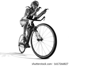 Sport. Cyclists in silhouettes on white background.