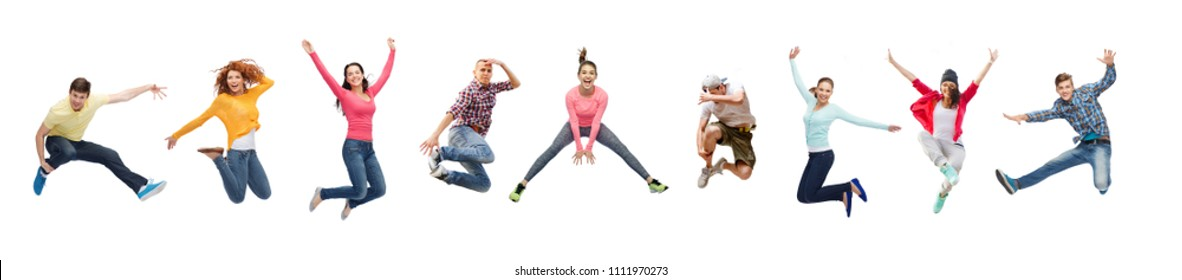 sport, dancing and people concept - group of people or teenagers jumping