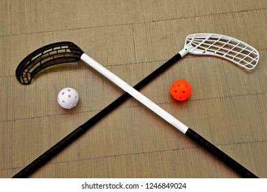 Sport equipment for playing in florbol. Balls with sticks  for floorball