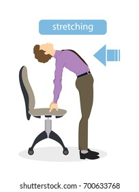 Sport exercises for office. Office yoga for tired employees with chair and table. Back stretching.