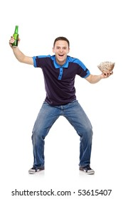 Sport fan with a beer bottle and popcorn bowl in his hands isolated on white background