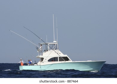 Sport Fishing Boat in the Gulf Stream Reeling in Game Fish