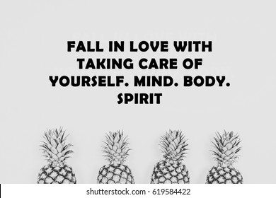 Sport, Fitness Inspirational Motivation quote fall in love with taking care of yourself.