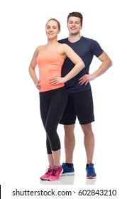 sport, fitness, lifestyle and people concept - happy sportive man and woman