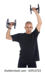 Sport Fitness trainer exercising with dumbbells in gym, isolated over white background