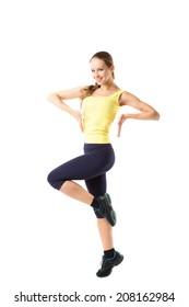 sport fitness woman doing exercises, full length portrait isolated over white background