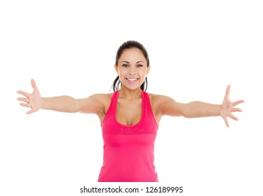 sport fitness woman, excited young girl raised up arms hands at you, portrait isolated over white background, concept freedom, asking us to come up hug doing exercise