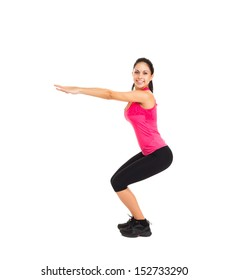 sport fitness woman, young healthy girl doing squat exercises, full length portrait isolated over white background