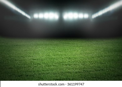 Sport football stadium in spotlights