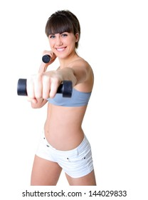 sport girl doing exercise with dumbbells, fitness young woman studio shot over white background
