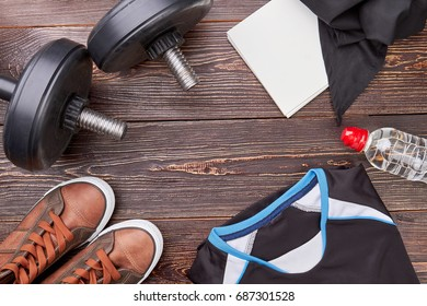 Sport gym accessories, copy space. Collection of important items for sportsman.