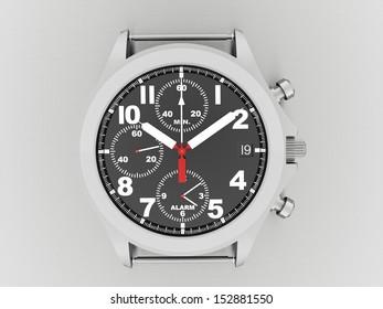 Sport hand watch rendered on dark background