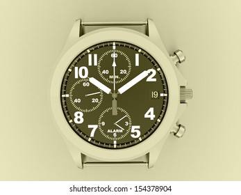 Sport hand watch rendered on yellow background
