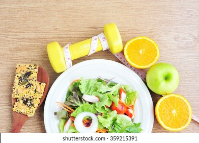 Sport and healthy food for diet.