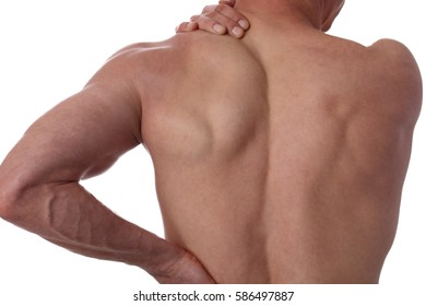 Sport injury, Man with back, neck pain. Pain relief and health care concept isolated on white.