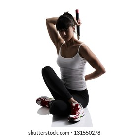 sport karate girl doing exercise with nunchaku, fitness silhouette studio shot over white background
