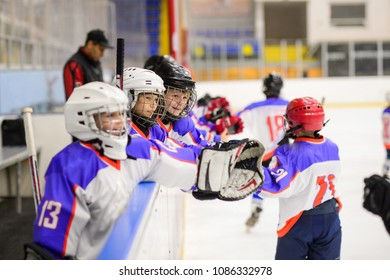 Sport for Kids. Young ice hockey players.