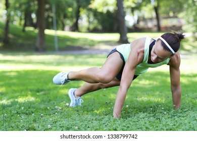 Sport and lifestyle. Workout in the park
