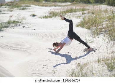 Sport and lifestyle.Yoga on the beach