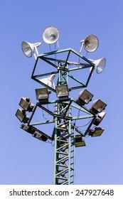 sport light : Light stadium sports lighting against on blue sky