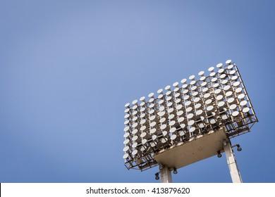 Sport lights with blue sky.