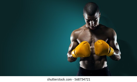 Sport. Male Athlete Boxer Punching.