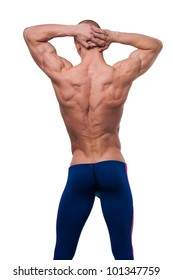 Sport male model showing his back