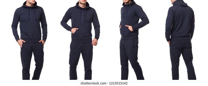 Sport man in a black sports suit with a hood. Front view, side view, rear view. Sweatshirt template mockup