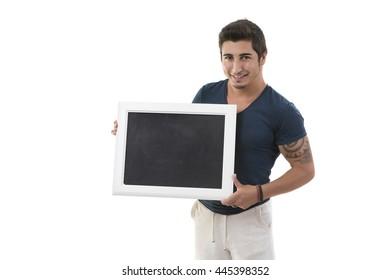 Sport Man holding blackboard on the white background.