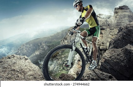Sport. Mountain Bike cyclist riding single track