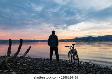 Sport and nature. Lake Maggiore at Angera, view towards Arona, Italy