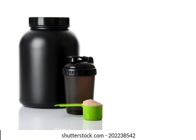 Sport Nutrition, Whey Protein and Gainer. Black Plastic Jars and Shaker isolated on white background