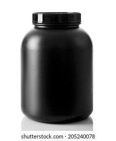 Sport Nutrition, Whey Protein and Gainer. Black Plastic Jars isolated on white background