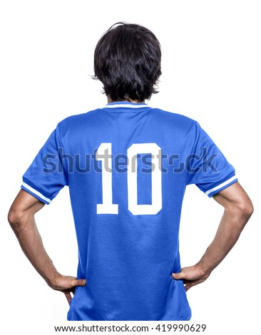 Sport player with the number ten on the back. Blue jersey