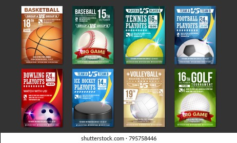 Sport Posters Set. Golf, Baseball, Ice Hockey, Bowling, Basketball, Tennis, Soccer, Football. Event Announcement Banner Advertising Professional League Vertical Sport Invitation Illustration