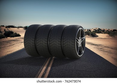 Sport racing tires. Tire with sport car rims. 3D rendering