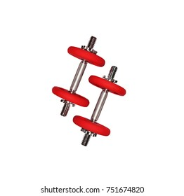 Sport red dumbbell set, isolated on white background, top view image. Trendy colorful weight equipment for sport banners, flyers, gym.