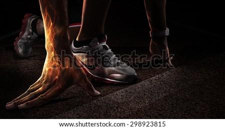sport runner hands on starting line の写真素材 今すぐ編集