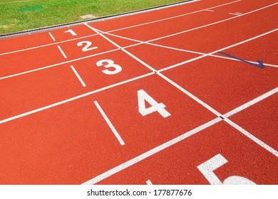 Sport running track in red